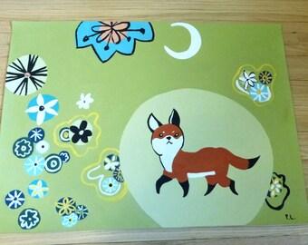 floorcloth floor mat painted rug animals fox funky kitchen mat whimsical bath mat home decor art for the floor CUSTOM order
