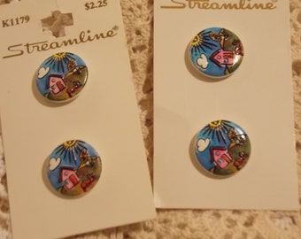 6 Painted House Scene Buttons Made in Germany So Cute Sew Supply Crafts