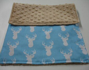 Deer Head in Blue with Tan Minky Baby Burp Cloth 11 x 17 READY TO SHIP