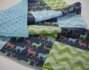 Meadow Deer Navy Green Aqua Minky Baby Security Blanket 25 x 32 READY TO SHIP On Sale