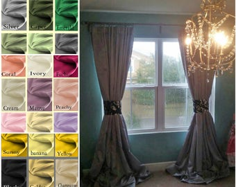 Princess Cartridge Pleat Satin Drapes with blackout lining