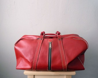 Leather Duffle Bag Vintage Red Gym Bag Oversize Zippers Mid Century 1950s 1960s Weekender Travel Luggage