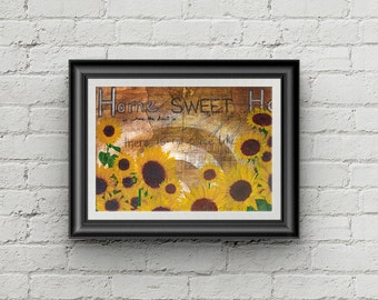 Home Again - Giclee Fine Art Print Mixed Media Sunflower Home Painting