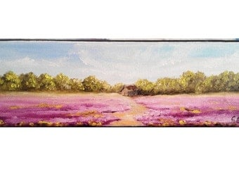 "Oil Painting House in Lavender Fields 3"" x 9"" READY to SHIP"
