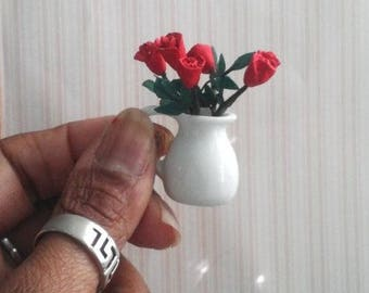 1:12 Scale 6 Red Roses in White Vase READY to SHIP