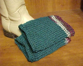 HANDKNIT BOOT CUFFS~In Deep, Peacock Blue w/Multi-Colored Cuff Tops in Lovely Colors~Stylish~Trendy~Fashionable~Great Look with Boots