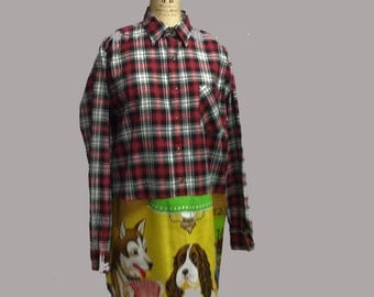 Poker Dog Cotton Flannel Shift Dress xl