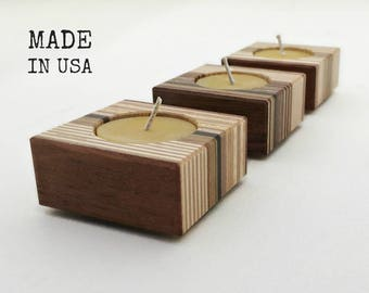 Modern Candleholders, Natural Beeswax, Recycled Wood Candle Holder, Minimalist Decor, Home Accents