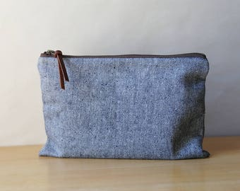 Heathered Indigo Hemp Organic Cotton Denim Pouch