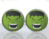SALE - Hulk Head Comic Strip Superhero Round Glass Tile Cuff Links CIR172