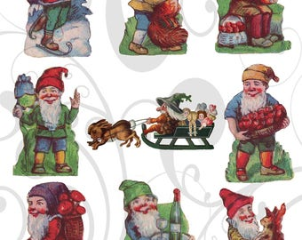 Vintage Clip Art  Gnomes  Collage Sheet You Will Get A Jpeg Sheet and Individual Png Images