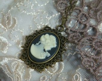 Black and Cream Lady Cameo Necklace