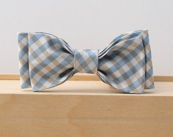 blue and gray/taupe bow tie little boy clip on bow tie spring Easter dress up photo prop