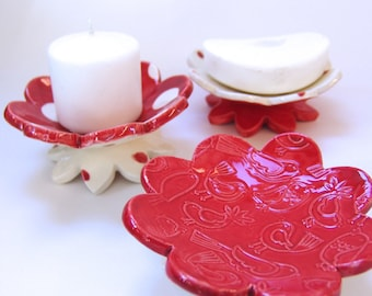 RED polka-dot pottery Dish Set :) 3 ceramic serving flowers, whimsical hostess gift, candle holders, ring dish, red birds, cardinals
