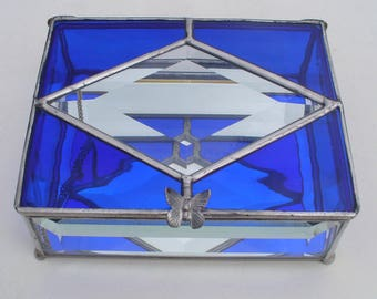 Cobalt Blue, Glass Jewelry Box, Stained Glass Box, With Beveled Glass, Your Choice of Color and Handle