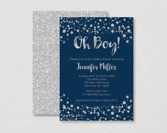 Navy & Silver Baby Shower Invitation / Glitter Baby Shower Invite / Glitter Confetti / Silver Glitter / Baby Boy / Oh Boy / PRINTABLE A158