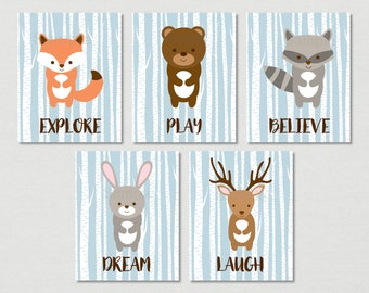 Cute Woodland Animal Nursery Wall Art / Woodland Animal Nursery Wall Art / Woodland Nursery / Birch Tree / Blue / PRINTABLE Instant Download