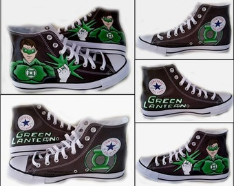 Green Lantern, Comics, Converse Hi Top, Wedding, Chuck Taylor, Geek, Custom Painted Sneakers, Shoe Color Black or Grey, Shoes Included