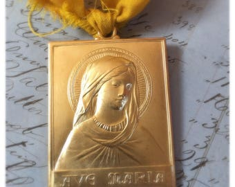 Ave Maria Medal -  Raw Brass Large Pendant - Goddess - Charm Made in the USA