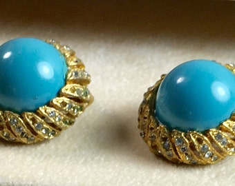 Faux Turquoise Designer Signed Clip Earrings Gold Tone Leaf Setting with Rhinestones