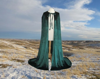 Emerald Green Velvet Cloak - Halloween Costume  - Medieval - Wedding - Elf