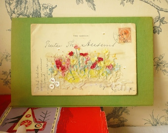 ARTWORK - original - hand embroidered vintage envelope - The garden