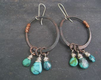 Jerome Arizona - Copper Moon Earrings Hand Forged Oxidized Turquoise Dangles Long Sterling Ear Wires Jane Plain Organic Roots Talismans