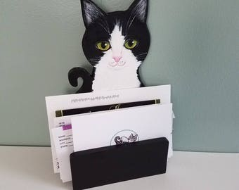 Mail Holder - Custom Desk Organizer - Cat Theme Desk Organizer - Cat Mail Holder - Letter Holder - Desk Accessories - Office Decor