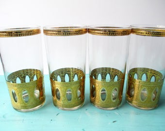Vintage Culver Antiqua Tumblers Textured Signed Glasses Set of Four - Retro Mod