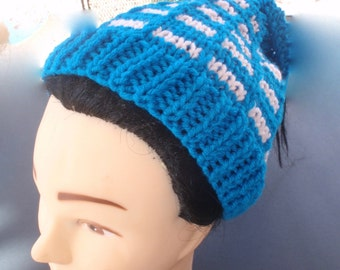 Messy bun hat, ponytail hat, unisex hat, azure blue and pink, ear warmer, winter hat, ski hat, colorful hat, popular hat, gift, women, girls