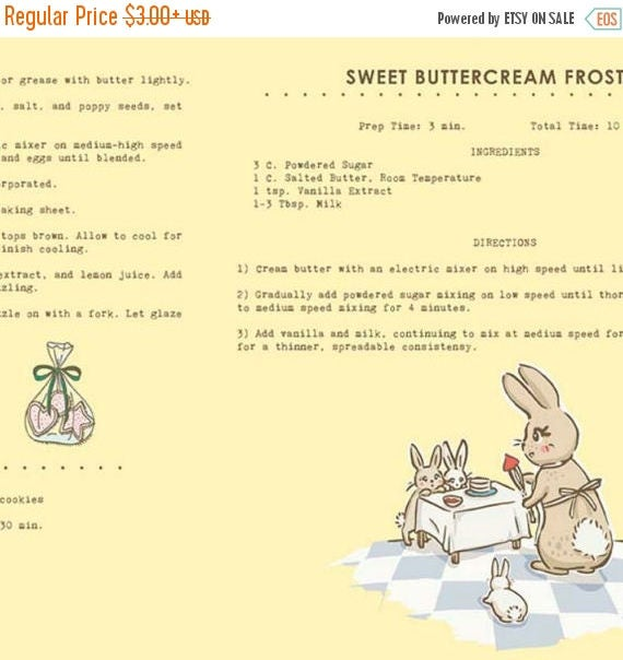 """ON SALE Penny Rose Fabrics """"Bunnies and Cream"""" Yellow Recipes"""