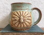 Ceramic Bee Coffee Cup - Large Ceramic Bee Mug - Honey Bee with Flowers - Wheel Thrown Stoneware