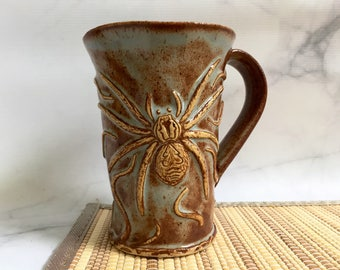 Ceramic Spider and Snakes Coffee Cup - Spider Pottery Cup - Handmade Stoneware Spider Mug