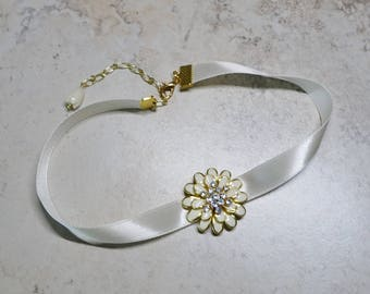 Ivory Ribbon Choker Necklace, Gold Ivory Enameled Flower,Rhinestones, Slider Focal, IvoryChoker Necklace,Bride's Choker,Wedding Choker, Prom