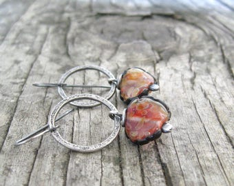 orange dangle earrings, rustic lampwork and silver earrings, metalwork jewelry, oxidized silver earrings