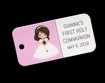 First Communion Favor Tags - Personalized - Girl - Gift Tags - Personalized Favor Tags - Brunette Girl