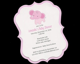 Baby Shower Invitations - Baby Girl - Pink - Elephant - Jungle Animals - Personalized - Die Cut