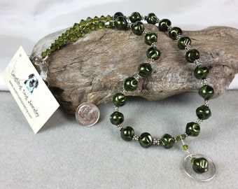 Dark Green Glass Pearl, Sterling Silver and Swarovski Crystal Necklace