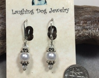 Swarovski Pearl, Crystal and Sterling Silver Earrings