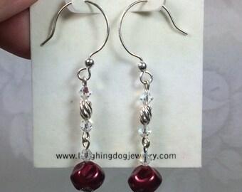 Swarovski Crystal, Sterling Silver and Whirl Pearl Earrings