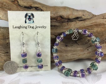 Purple and Green Ceramic Bracelet and Earrings Set with Paw Print Charm