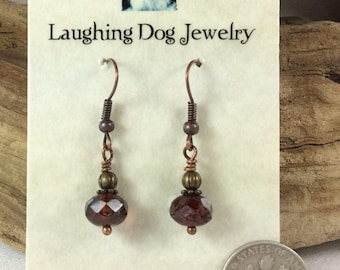 Dark Amber Glass and Antiqued Copper Earrings