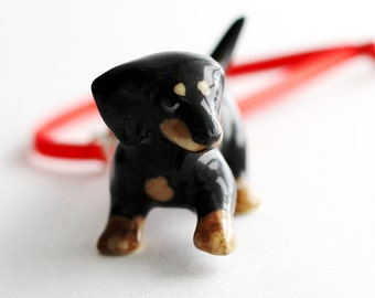 Black Dachshund Doxie Wiener Dog Christmas Ornament Red Swarovski Crystal Wire Wrapped by Hendywood