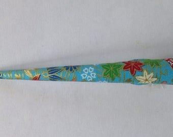 Large Hair Clip - Japanese Fabric Covered, Japanese Accessory, Umbrella, Janome, Blue, Gold, Metal Concord Clip, Kimono Beak Clip, Handmade
