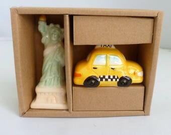 "New York Salt and Pepper, Lady Liberty, NY taxi, ceramic S P shakers, souvenir, Checker cab, Statue of Liberty, NY souvenirs, 4"" shakers"