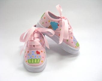 Cupcake Shoes, Ice Cream Theme Birthday Party Pink Sneakers, Hand Painted for Baby and Toddler