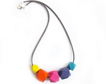Geometric Necklace, Rainbow Necklace, Wooden Necklace, Hexagon Jewellery, Hexagon Necklace, Colorful Jewelry, Mothers Day Jewellery