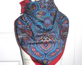 paisley scarf . jewel color scarf .  polyester scarf