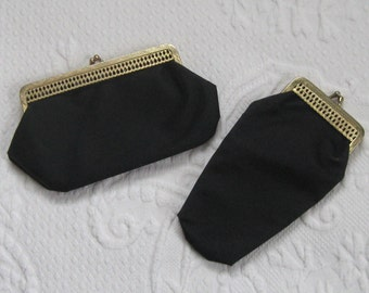 matching glasses and cosmetic pouch . glasses case . cosmetic pouch . black pouch set . 60s glasses case . 60s cosmetic pouch