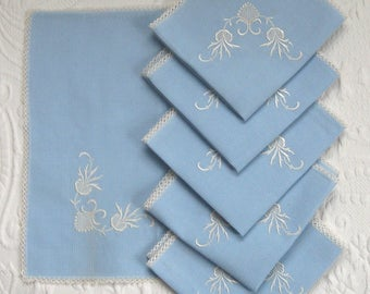 baby blue Napkins. embroidered napkins. Turkish napkins . lot of 6 .  6 blue Linen Napkins . linen napkins